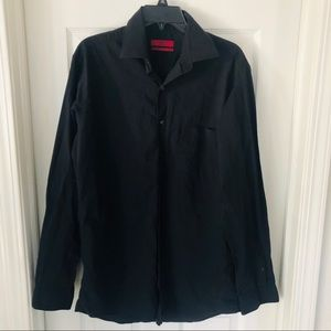 ALFANI black fitted collared button up shirt SZ M